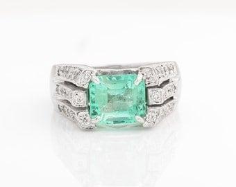 Circa 1950s Retro-Vintage Columbian Emerald Ring with Round Brilliant Diamonds, VJ #426