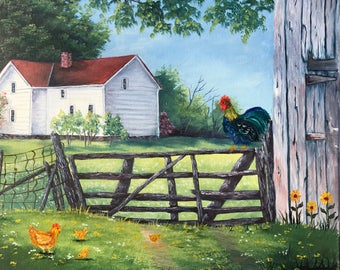 Chickens on Farm Gate Oil Painting, Rooster on Fence, Hen with Chicks, Farm House Painting