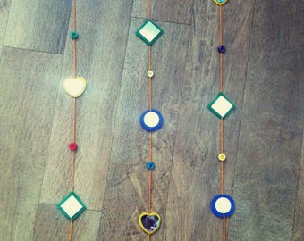3 Strand Mobile-Coloured Felt And Glass Mirror With Buttons