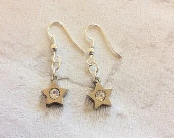 Rhinestone Star Earrings, Silver earrings, Star Earrings, Dangle Earrings, Rhinestone Earrings, Festive Earrings, Silver Stars.