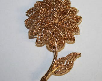 Signed MONET Vintage Gold Tone Flower Brooch Pin Textured Figural Statement Estate Jewelry