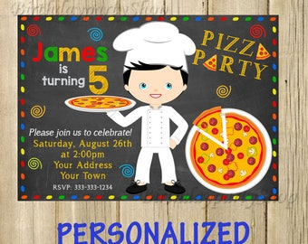Pizza Party Invitation - Pizza Party Birthday Invite - Pizza Personalized, Digital File