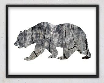 Printable Bear Print, Bear Art, Forest Animal Printable, Rustic Wood Print, Digital Download Print, Wild Animal Print, Woodland Wall Art,