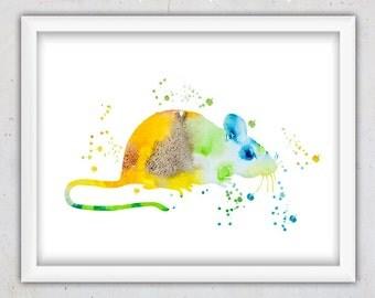 Watercolor Mouse Nursery Print, Mouse Poster, Nursery Wall Art, Kids Print, Kids Wall Art, Digital Art, Printable Art, Animal Nursery Print