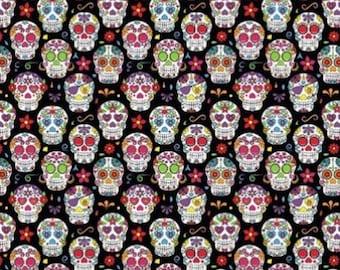 Fabric Happy Skulls - skulls - skull - santa muerte - - 100% cotton sold in multiples of 50 cm x 150 cm