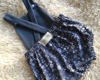 Summer Bubble Romper , Midnight Flowers