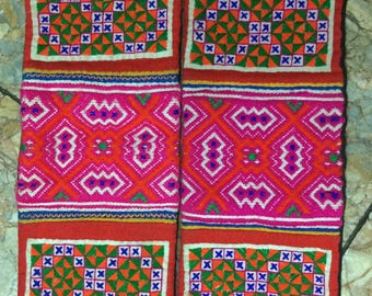 Vintage tribal Flower Hmong embroidery pieces in the north of Vietnam