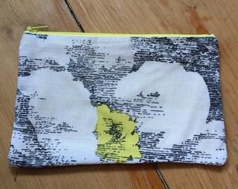 Black and Yellow Purse/ make up bag / travel bag