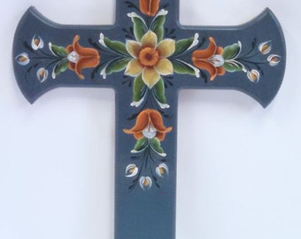 rosemaling cross, hand painted in oil, med. blue background, yellow, rusty orange and white flowers