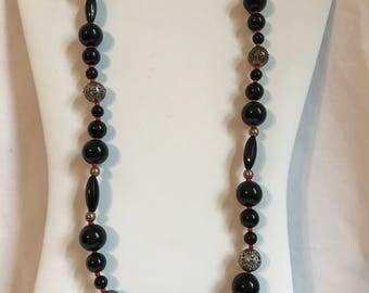 Vintage Multi Bead Necklace, Retro, Boho, Hippie, Fashion, Estate Jewelry