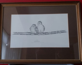 Michael N Oxenham limited edition print fledgling bluetits