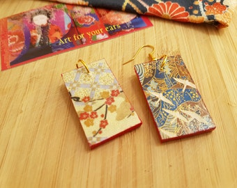Blossoms and cranes - Japanese rectangular, light, earrings