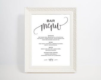 Bar Menu Template, Bar Menu, Bar Menu Printable, Bar Menu Wedding, Drink  Drinks Menu Template