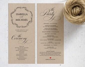 Rustic Wedding Program Template, Wedding Ceremony Program, Printable Programs, Kraft Wedding Program, fan, PDF Instant Download, WPC_253SD4A