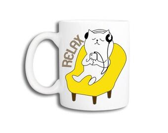 Funny Cat Coffee Mug - RELAX cat.