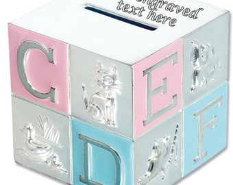 Silver Plated Pink & Blue ABC Money Box -  Birthday Baby, New Born, Christening Gift, Birthday