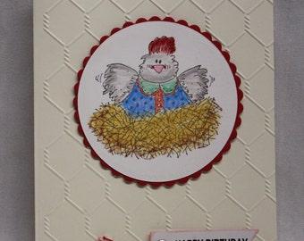 Birthday chicken card, chicken on a nest birthday card, birthday card, chicken birthday card