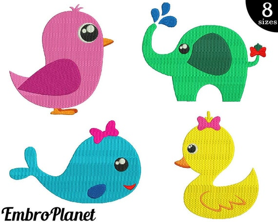 Baby animals designs for embroidery machine instant download