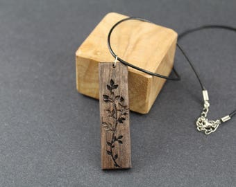 Wood Necklace, Wooden Necklace, Bar Necklace, Pendant Geometric Necklace, Black Walnut Necklace, Salvaged Necklace Statement Necklace