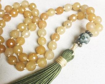 Yellow Jade Mala Necklace | Mala Beads | 108 Mala Beads | Mala Jewelry | Prayer Beads | Meditation Beads | Boho Jewelry | Jade Jewelry