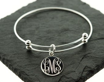 925 Sterling Silver Slide Stretch Monogram Bangle with Disc, Charm Bangle, Charm Bracelet, Slide Bracelet, Monogram Bangle, Silver