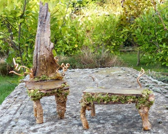 Fairy Table and Chair Set by Fairies of Tranquility - Fairy Garden, Fairy House, Miniature Furniture, Accessories & Dolls house Furniture