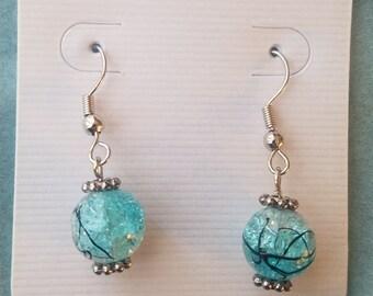 Marbled teal beaded earrings