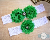 Wedding Garter, Handmade with White Lace, Emerald Green Flower and Silver Rhinestone - by BespokeGarters