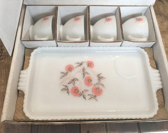 Vintage Fleurette 8 Piece Snack Set in Original Box