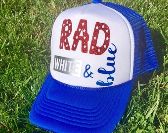 Trucker hat, patriotic hat, rad white & blue, Fourth of July hat, patriotic apparel, red white and blue, custom hat, custom trucker hat