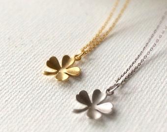Clover Necklace, matte silver clover necklace, matte gold clover necklace, clover charm jewelry, Clover pendant, best friends necklace