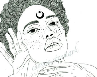 Moonshine Black & White Art Print