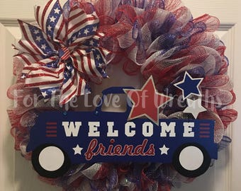 Red, white and blue patriotic welcome friends wreath