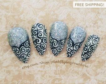Black Swirls & Glitter press on nails