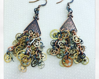 Copper Steampunk Watch Gear Earrings