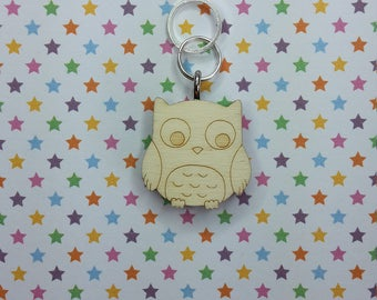Owl wooden stitch marker - knitting notions - charm
