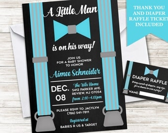 Little Man Invite Baby Shower Invitation Boy Sprinkle Personalized, Digital, Blue and Black, Bundle