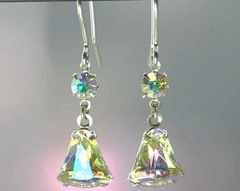 Vintage Crystal AB Earrings -New Sterling Silver 925 Hooks - 1950s Aurora Borealis