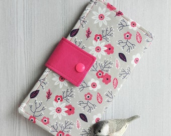 Pink White little wildflowers Womens wallet, Bifold fabric wallet, handmade clutch wallet, credit card wallet, checkbook wallet