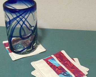 """Fabric Coasters, Fabric Quilted Coasters, Fabric Mug Rug, Set of 4, 4"""" x 4"""""""