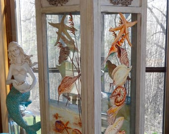 Antiqued gray wood Lantern with shells and Sand Pipers  hand painted glass inserts