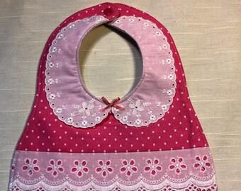 Pink Bib - Girl Bib - Lace Bib - Polka Dot Bib - Collar Bib - Lace Collar - Nursery - Shower Gift - Baby Gift - Baby  Girl - Item # 101