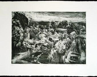 "Art from the GDR. ""Dorf"", 1985. Etching by Gunter HERRMANN (*1938 D)"