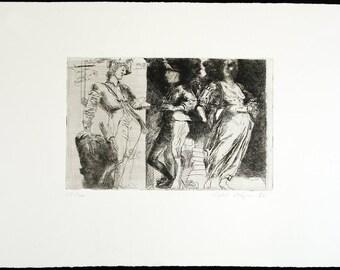 Art from the GDR. Untitled (Nischwitzer Figuren), 1983. Etching by Volker STELZMANN