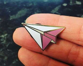 Origami paper plane hard enamel pin pink and white cute kitsch