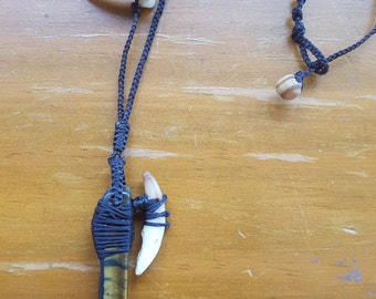 Tigers eye coyote totem necklace