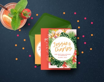 Tropical personalised invitation set | Engagement | Wedding invites | Birthday party | Elopement | Hens | Printable