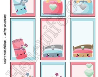 Bedtime , Happy Planner stickers [222] , Full box, A5 PDF, Instant download