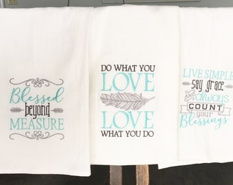Blessed, Love and Live Simple Towel Set, Embroidered Tea Towels, Kitchen Dish Towels, Flour Sack Towels, Dish Towel Set, Housewarming Gift