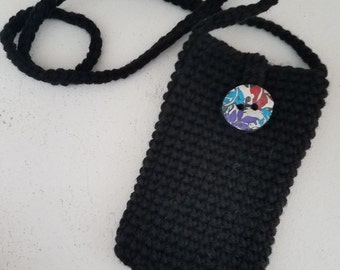 """Black Crocheted 4"""" x 6-1/2"""" Boho Smart Cell Phone Case with Strap"""